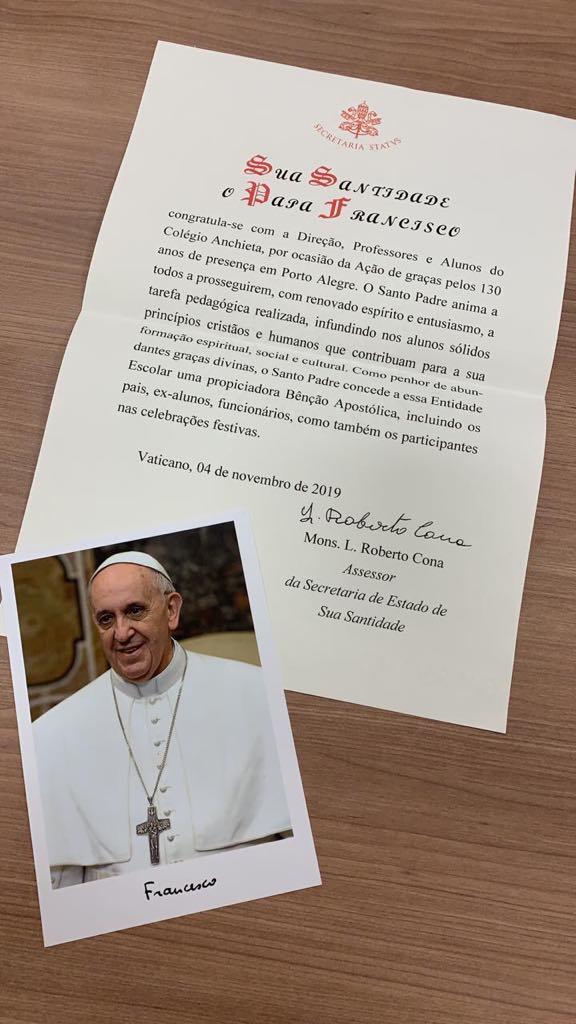 Papa Francisco parabeniza Colégio Anchieta pela celebração dos 130 anos